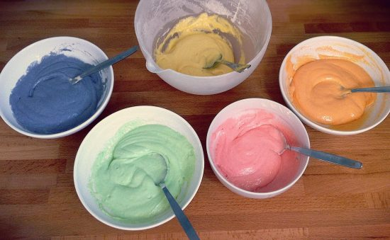 colored cake batter