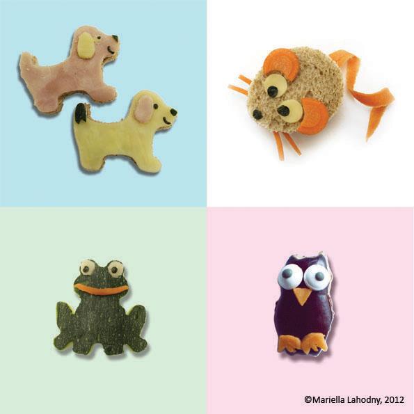 Schinken-Käse-Hund, Brot-Mäuschen, Zucchini-Frosch, Auberginen-Eule