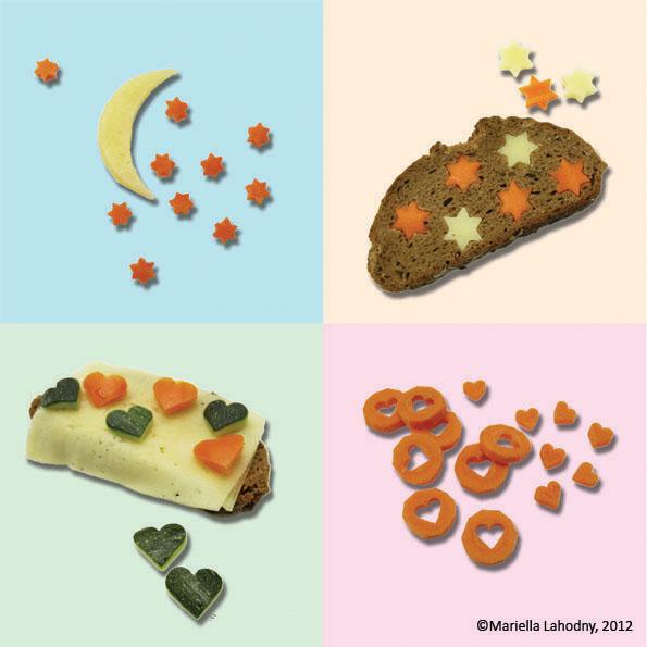 Sterne und Herzen aus Gemüse
