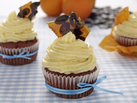 Orangen-Kürbiskern-Cupcakes