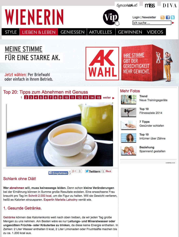 Screenshot Wienerin.at - Top 20: Tipps zum Abnehmen mit Genuss