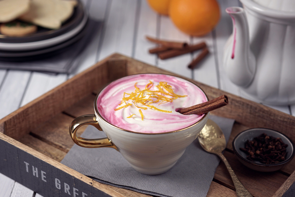 Food styling Pink Latte Bubble Foods